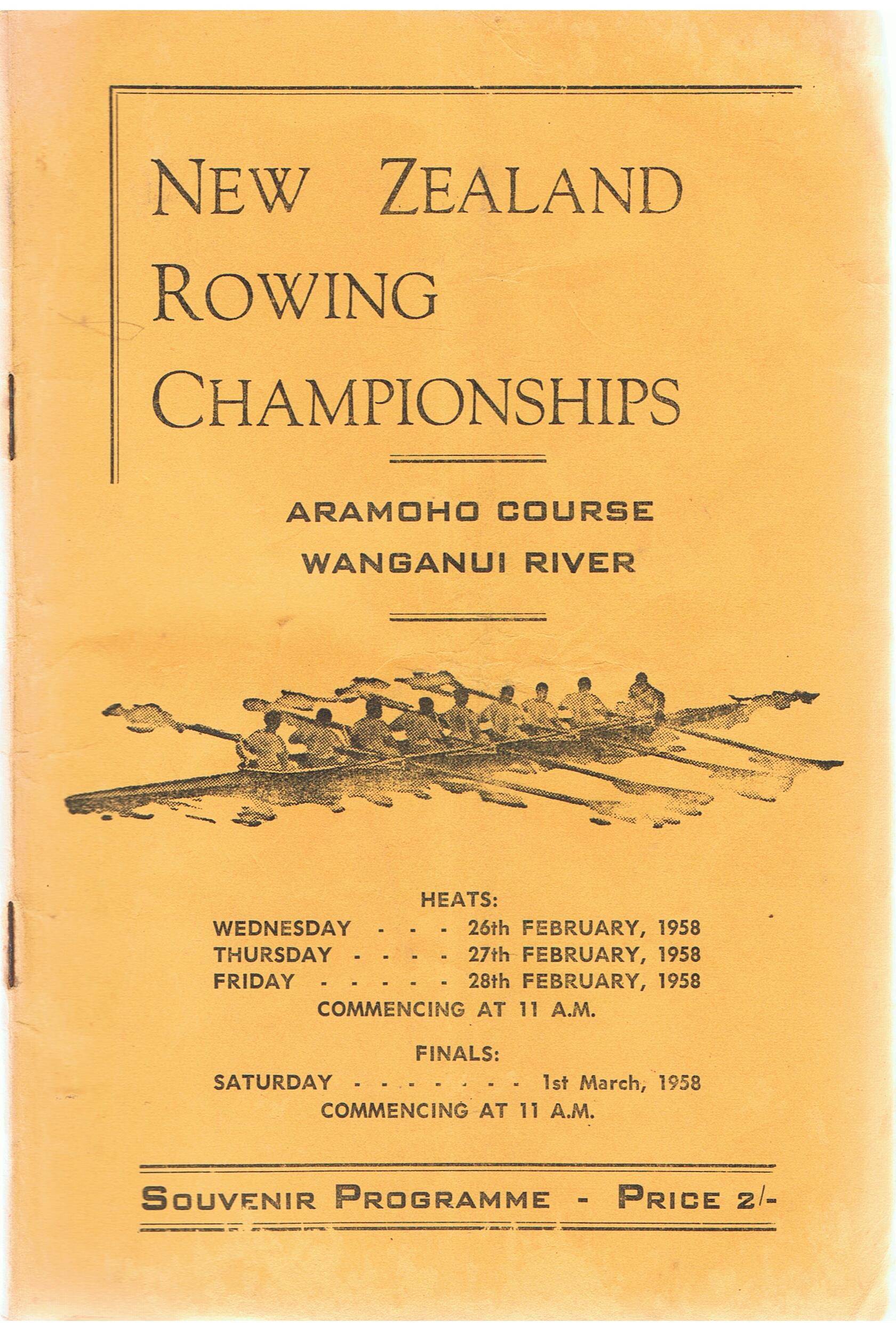 Image for New Zealand Rowing Championships 1958. Aramoho Course. Wanganui River. Souvenir Programme.