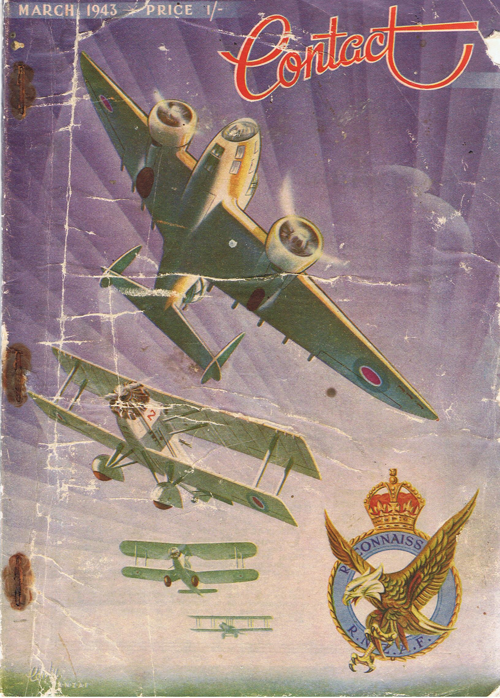 Image for Contact. March 1943.Vol 3, No 3.  National magazine of the R.N.Z.A.F. [RNZAF - Royal new Zealand Air Force]