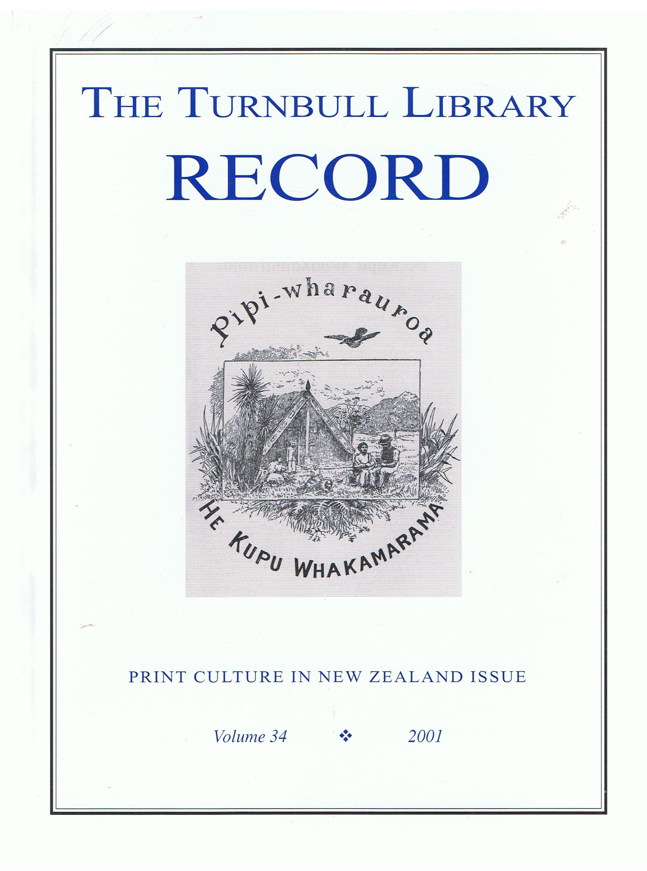 Image for The Turnbull Library Record. Volume 34. 2001.