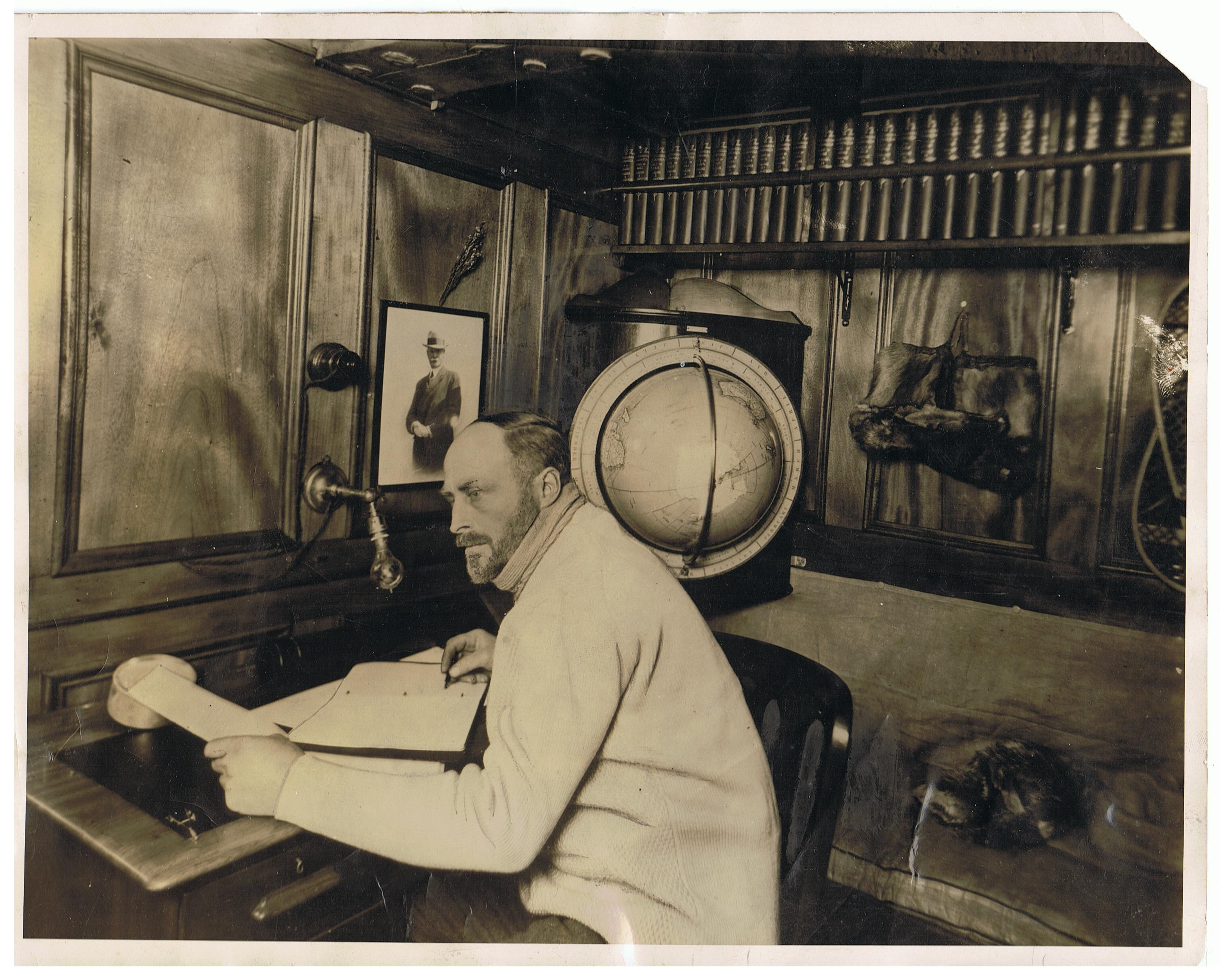 Image for Original photograph By Frank Hurley from 1930: Sir Douglas Mawson, Leader of the British Australian New Zealand Antarctic Research Expedition in His Study Aboard The Discovery.