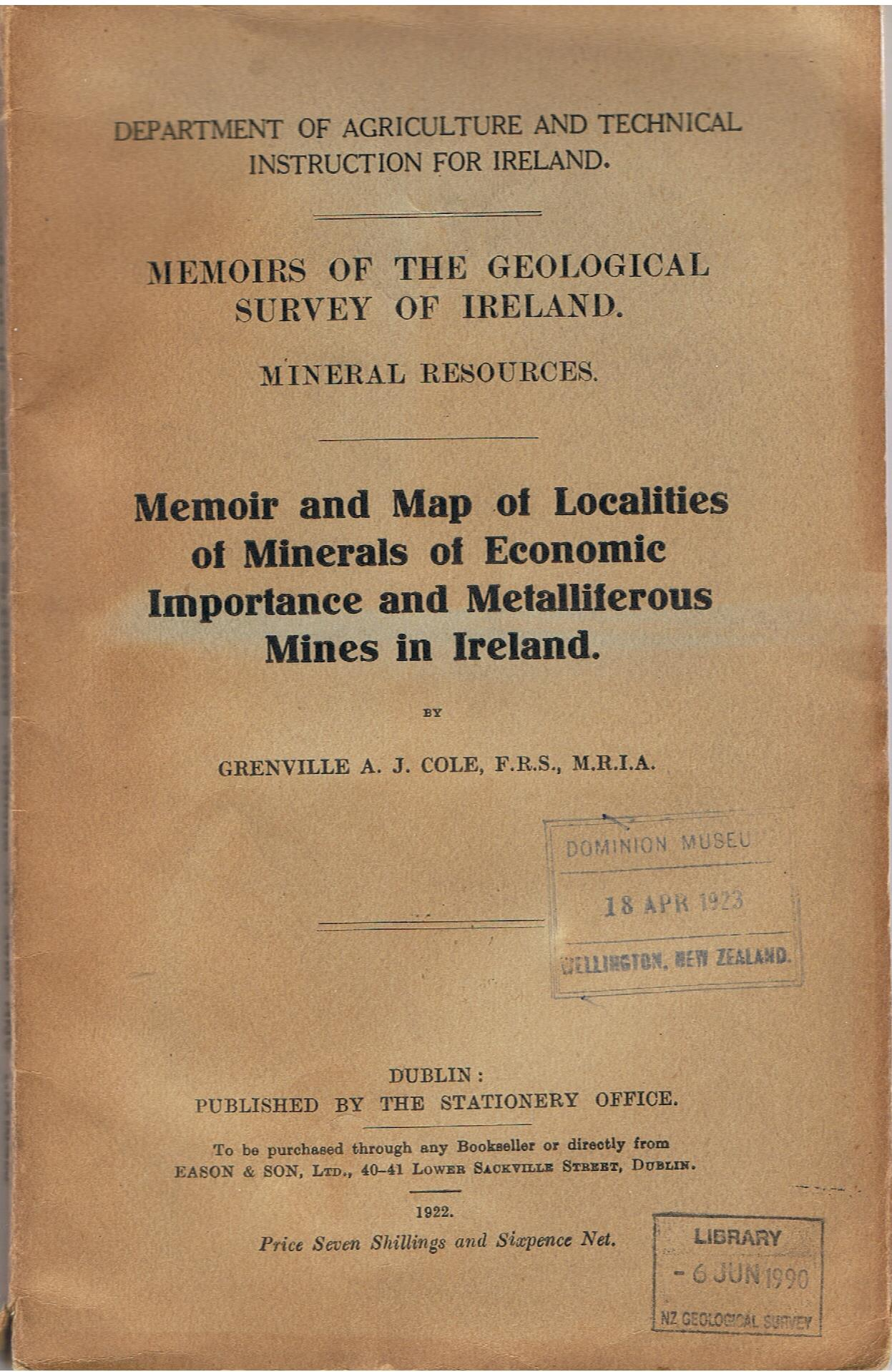 Image for Memoir and map of localities and minerals of economic importance and metalliferous mines in Ireland.
