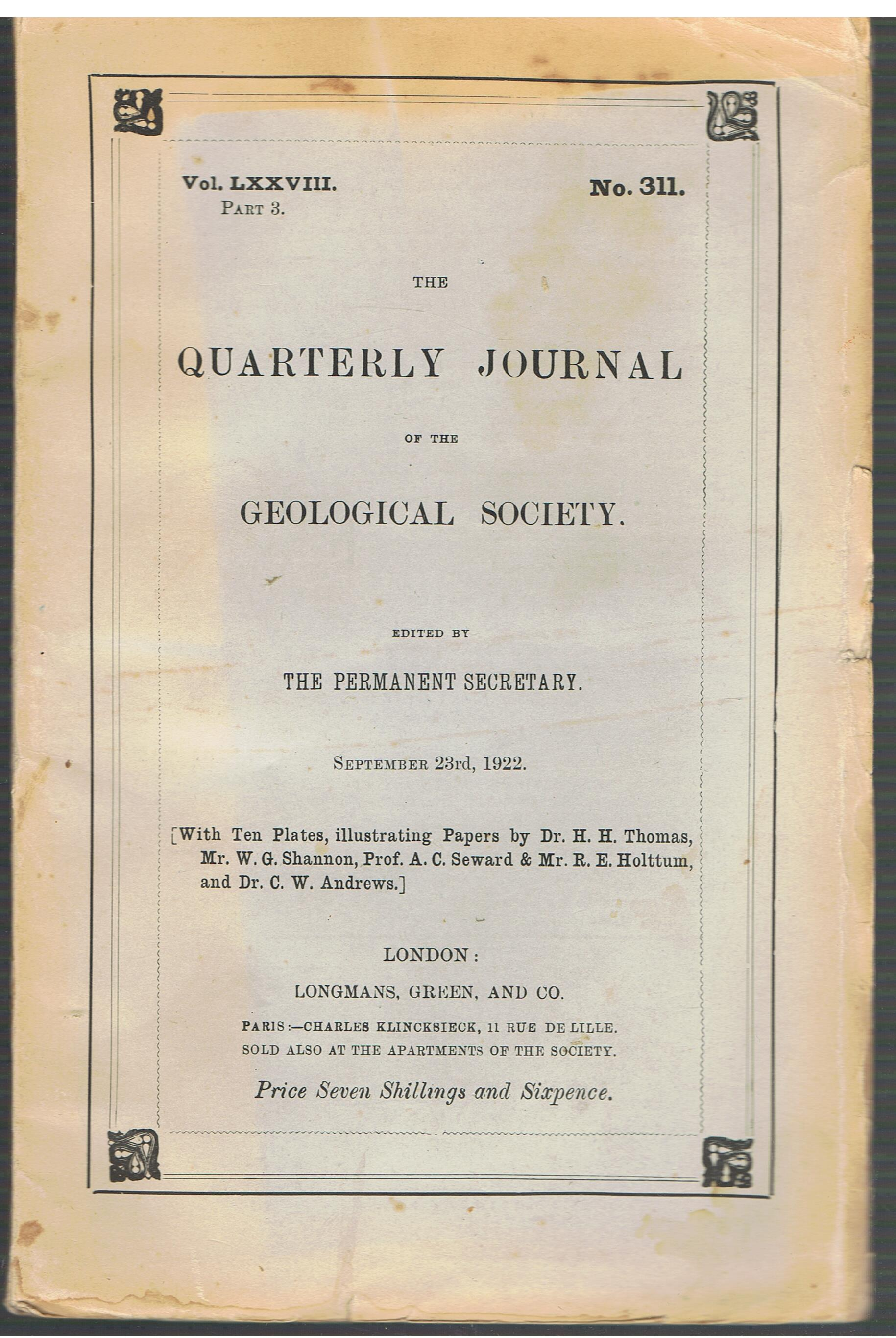 Image for Quarterly Journal of the Geological Society - Volume 78, Part 3, 1922. No. 311.