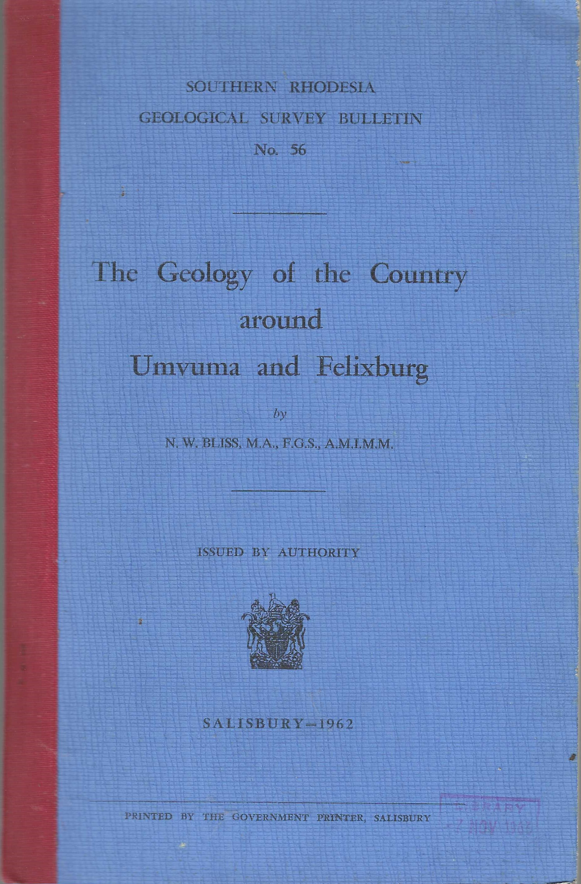 Image for The Geology of the Country Around Umvuma and Felixburg.